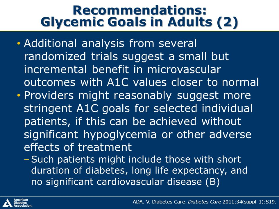Recommendations: Glycemic Goals in Adults (2)