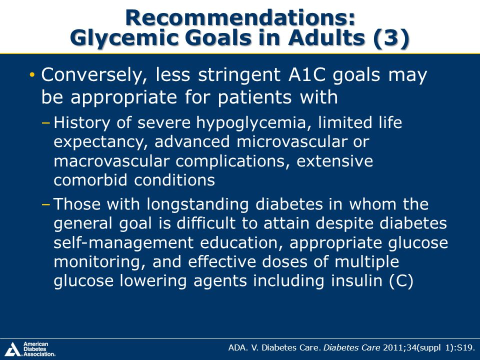 Recommendations: Glycemic Goals in Adults (3)