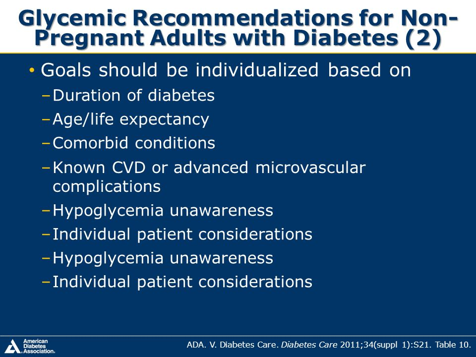 Glycemic Recommendations for Non-Pregnant Adults with Diabetes (2)