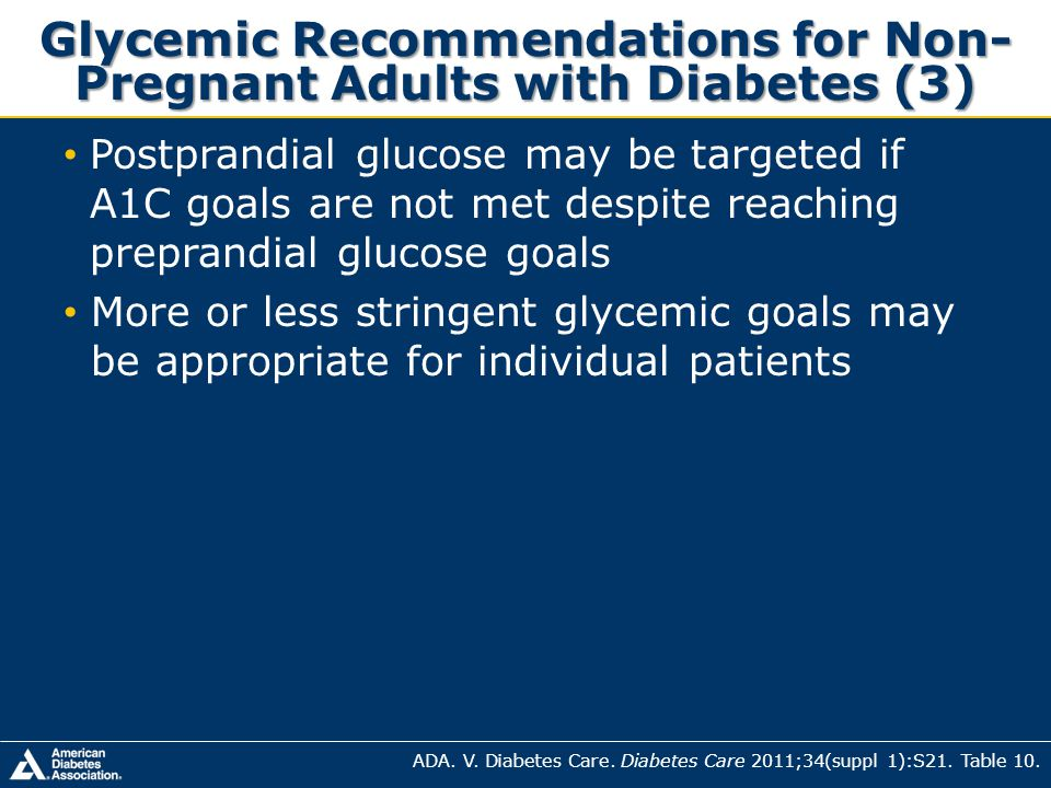 Glycemic Recommendations for Non-Pregnant Adults with Diabetes (3)