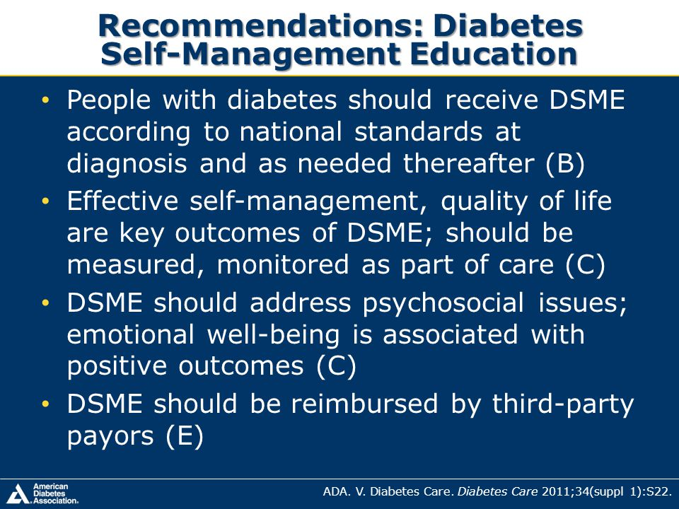 Recommendations: Diabetes Self-Management Education