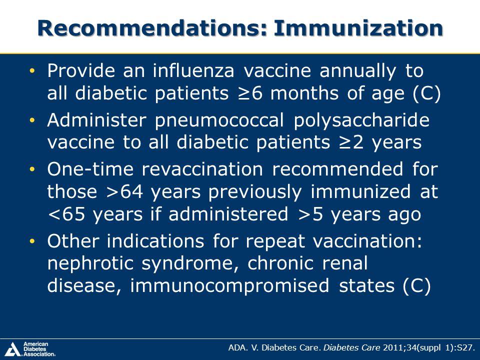 Recommendations: Immunization