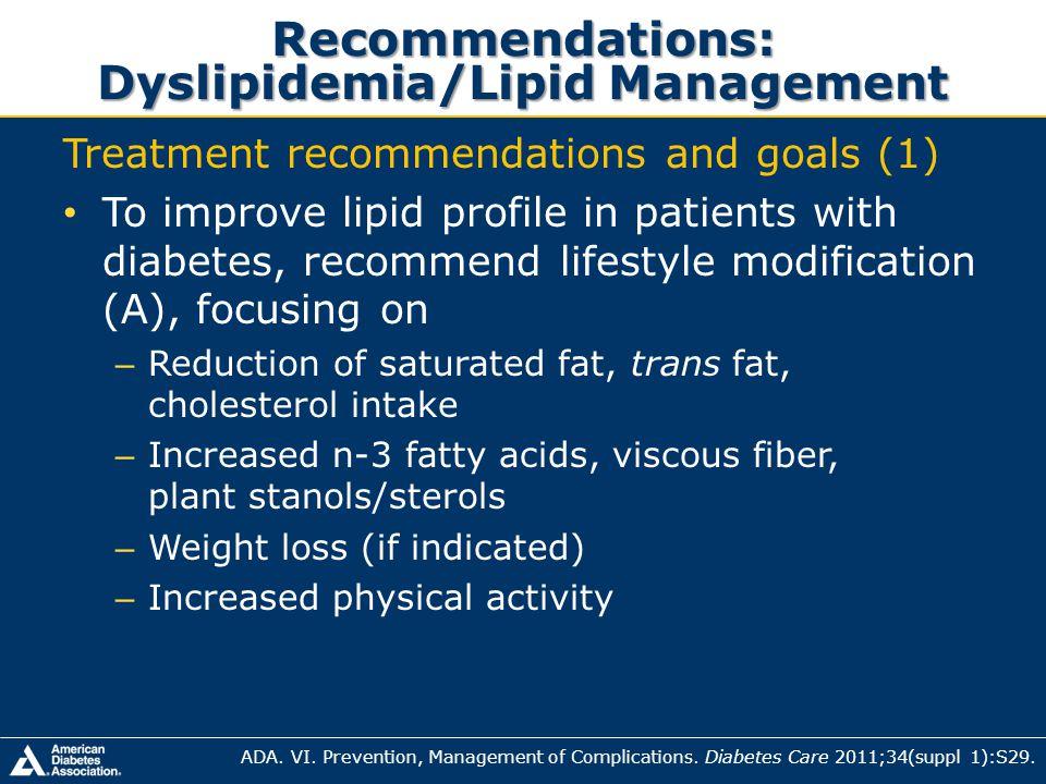 Recommendations: Dyslipidemia/Lipid Management