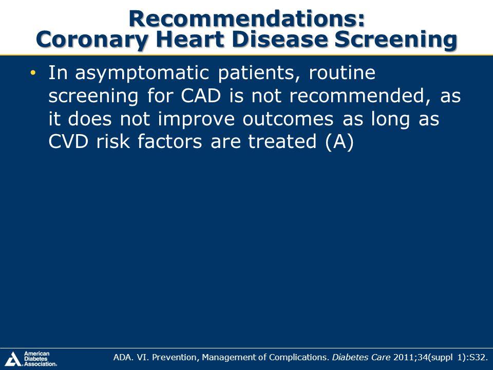Recommendations: Coronary Heart Disease Screening
