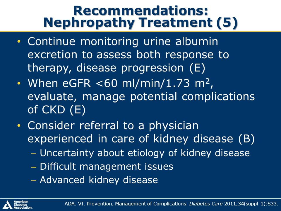 Recommendations: Nephropathy Treatment (5)