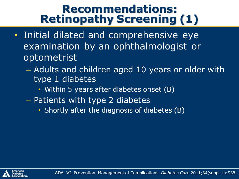 Recommendations: Retinopathy Screening (1)
