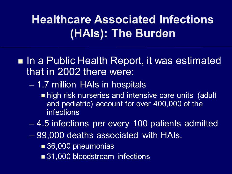 Healthcare Associated Infections (HAIs): The Burden