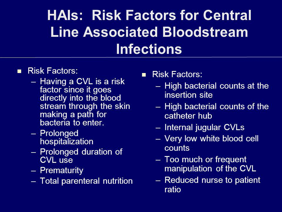 HAIs: Risk Factors for Central Line Associated Bloodstream Infections