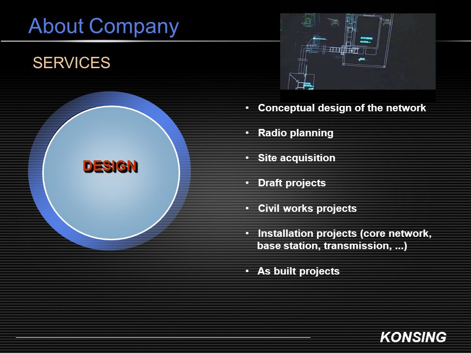 About Company SERVICES DESIGN Conceptual design of the network