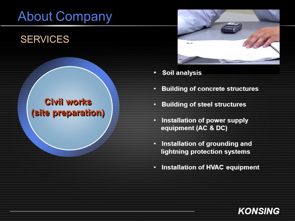 About Company SERVICES Civil works (site preparation) Soil analysis