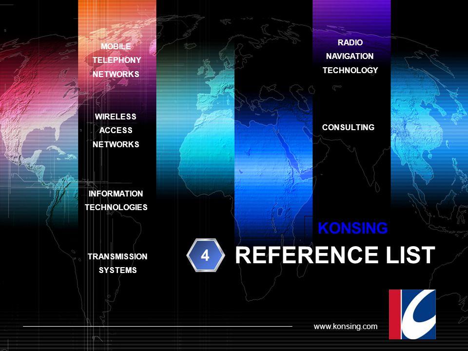 REFERENCE LIST KONSING 4 RADIO MOBILE NAVIGATION TELEPHONY TECHNOLOGY