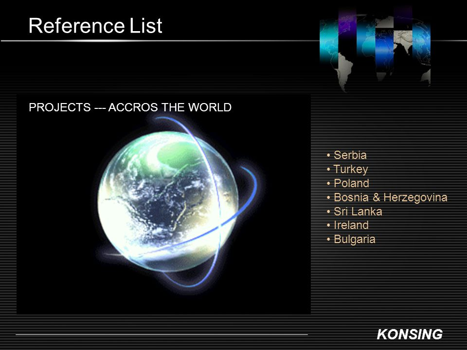 Reference List PROJECTS --- ACCROS THE WORLD Serbia Turkey Poland