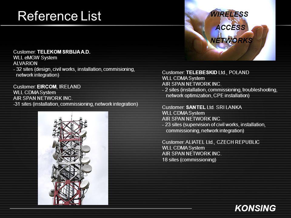 Reference List WIRELESS ACCESS NETWORKS Customer: TELEKOM SRBIJA A.D.