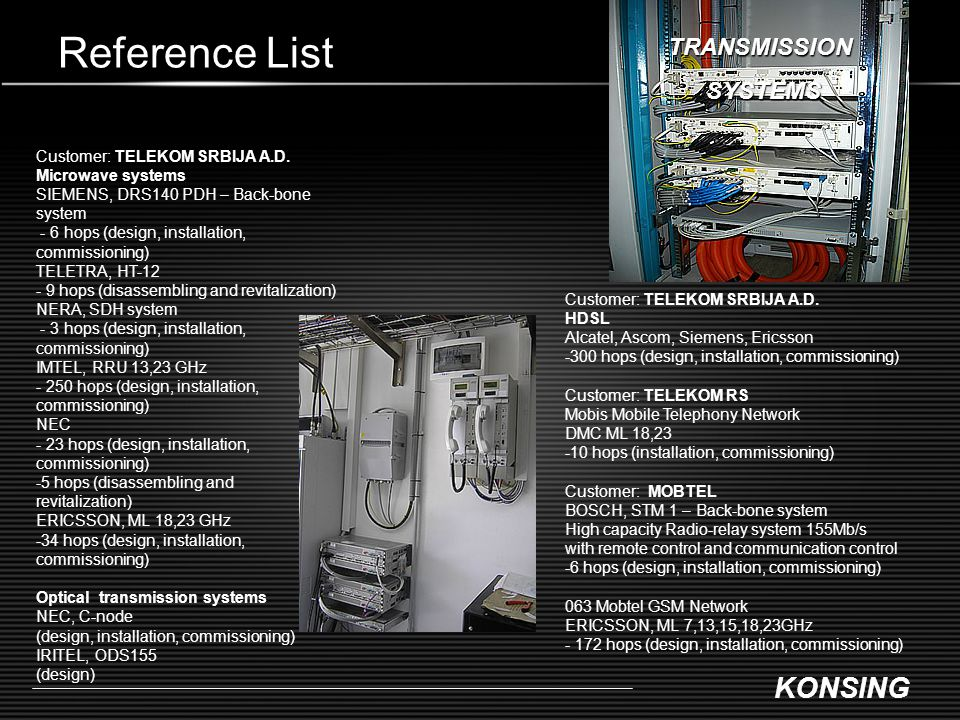 Reference List TRANSMISSION SYSTEMS Customer: TELEKOM SRBIJA A.D.