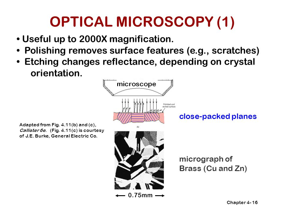 OPTICAL MICROSCOPY (1) • Useful up to 2000X magnification.