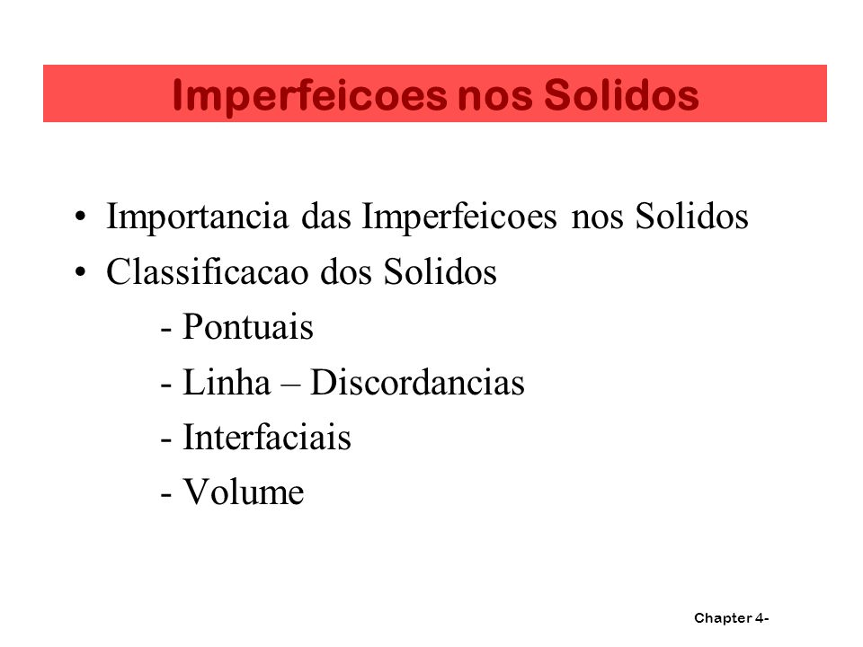 Imperfeicoes nos Solidos