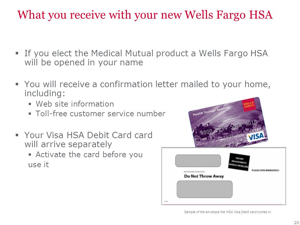 What you receive with your new Wells Fargo HSA