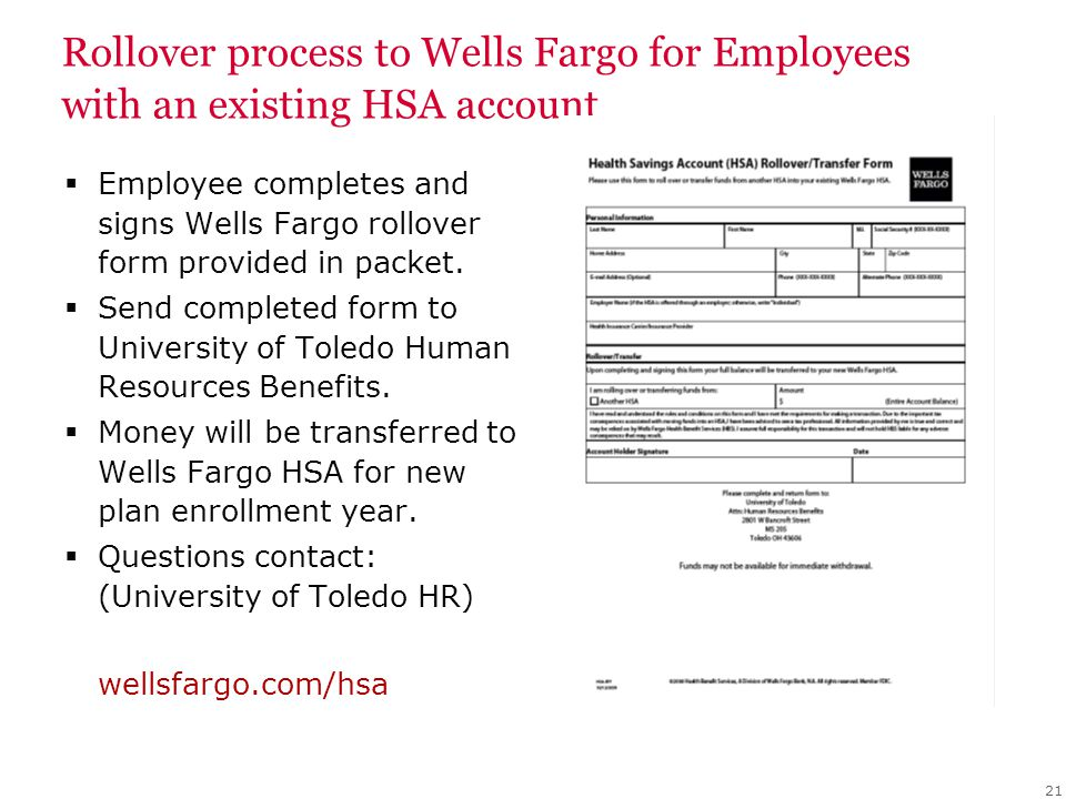 Rollover process to Wells Fargo for Employees with an existing HSA account