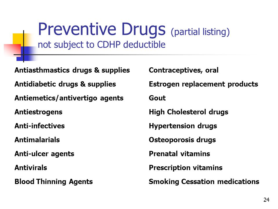 Preventive Drugs (partial listing) not subject to CDHP deductible