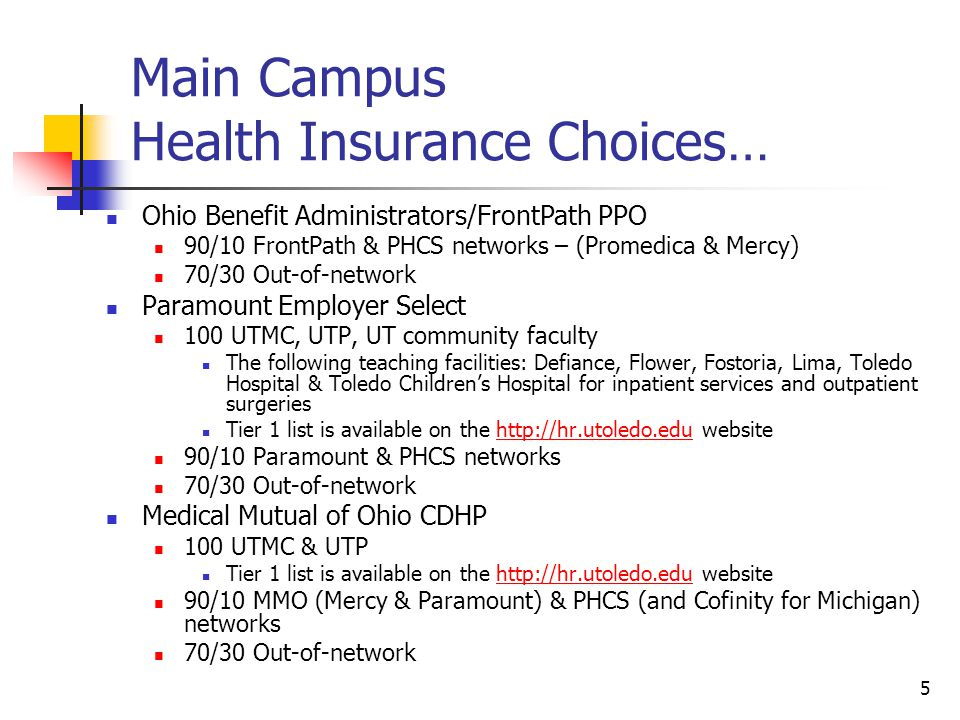 Main Campus Health Insurance Choices…