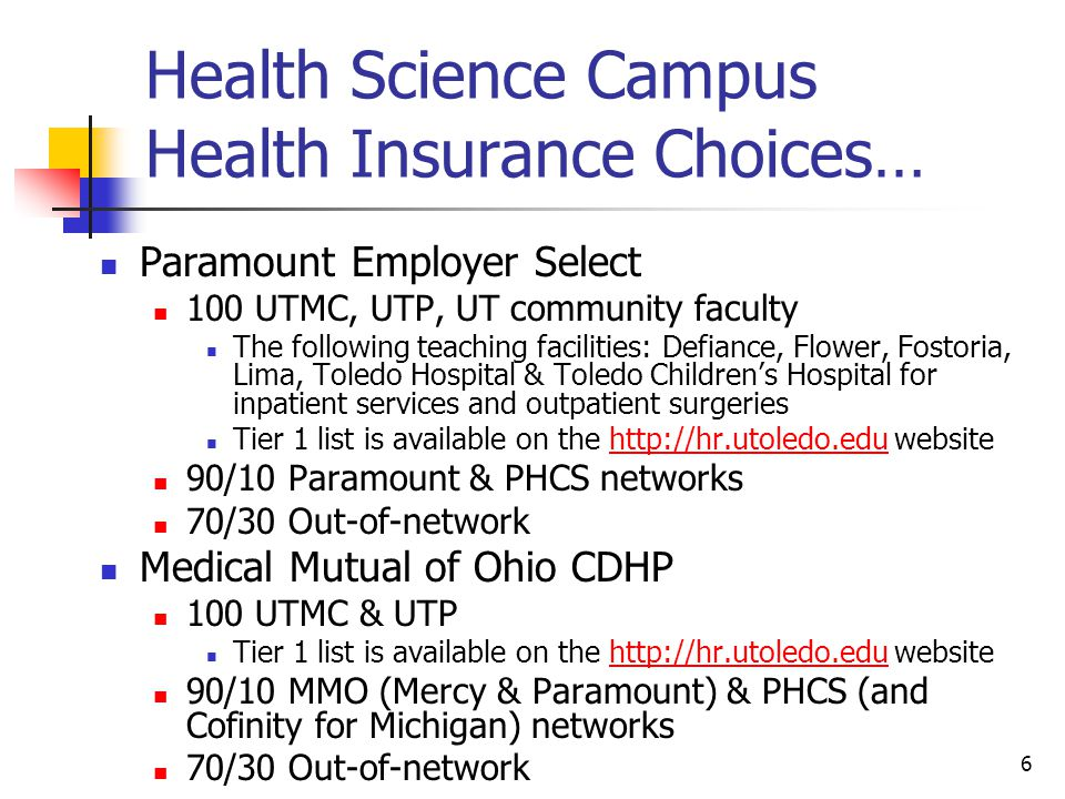 Health Science Campus Health Insurance Choices…