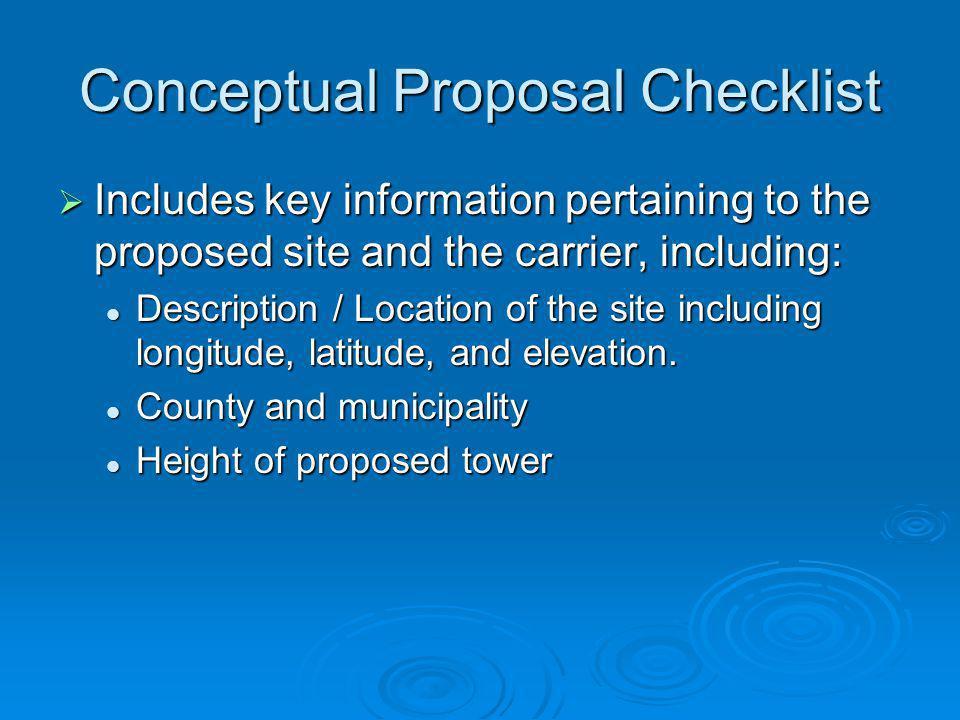 Conceptual Proposal Checklist
