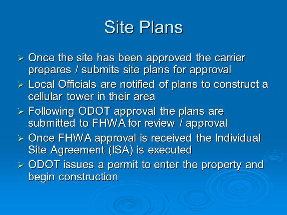 Site Plans Once the site has been approved the carrier prepares / submits site plans for approval.
