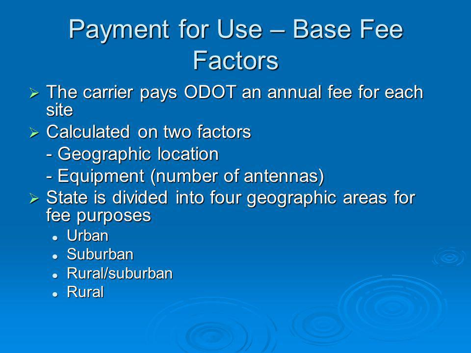 Payment for Use – Base Fee Factors