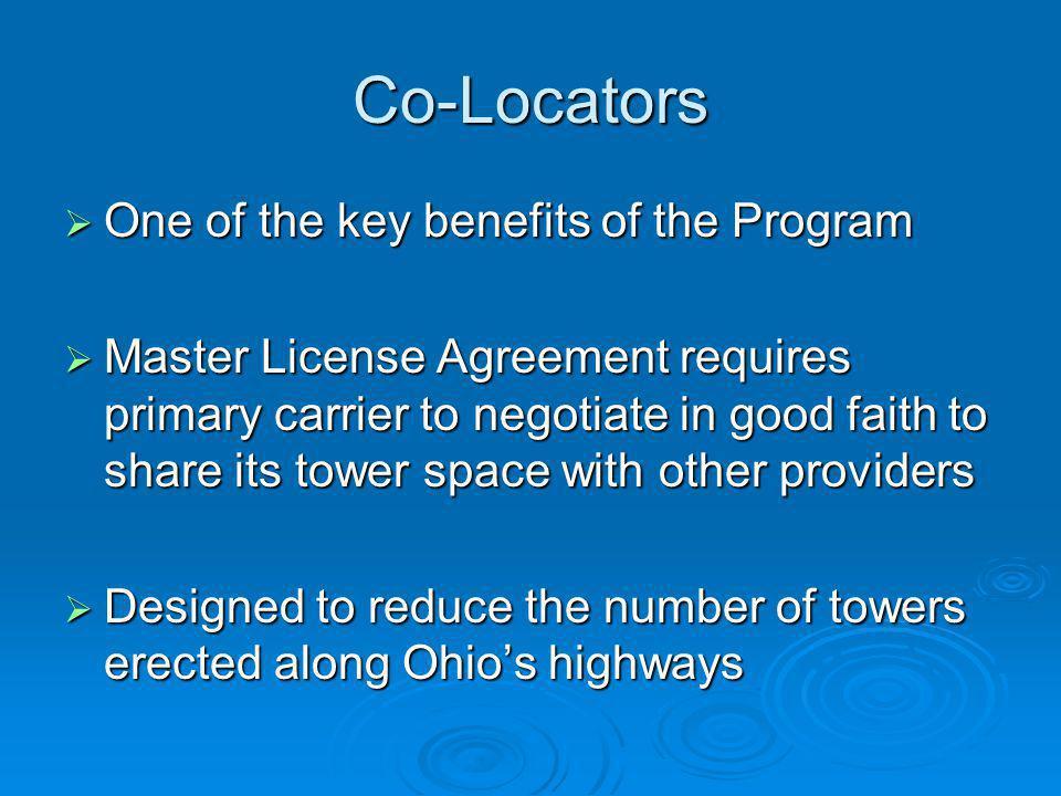 Co-Locators One of the key benefits of the Program