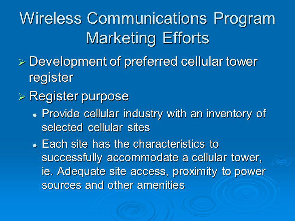 Wireless Communications Program Marketing Efforts
