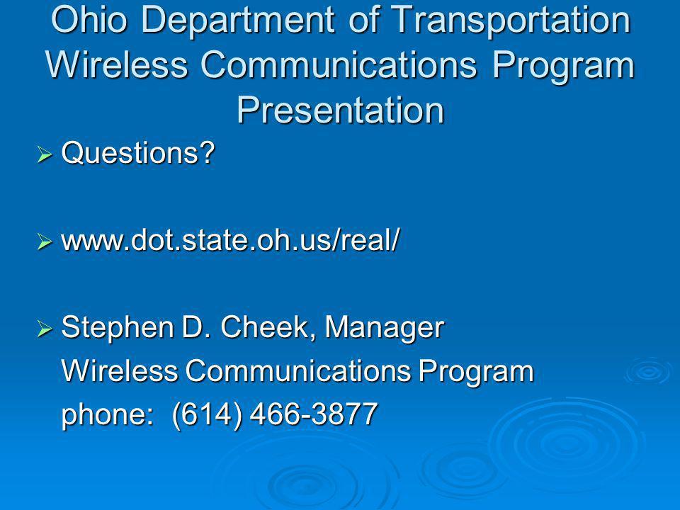 Ohio Department of Transportation Wireless Communications Program Presentation
