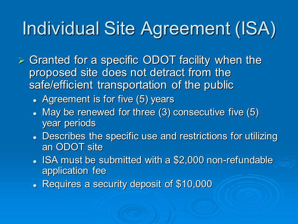 Individual Site Agreement (ISA)