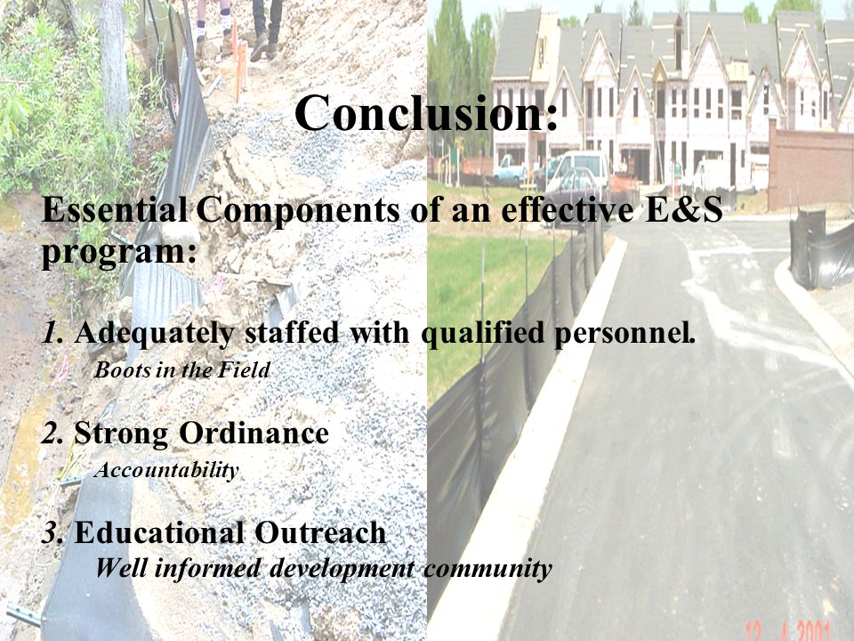 Conclusion: Essential Components of an effective E&S program: