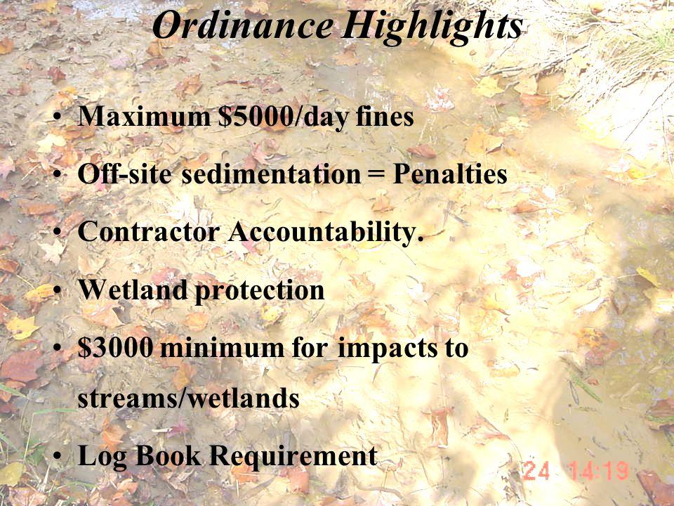 Ordinance Highlights Maximum $5000/day fines