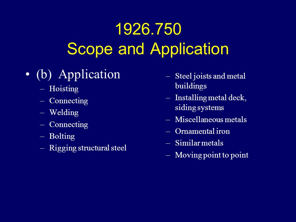 1926.750 Scope and Application (b) Application Hoisting Connecting