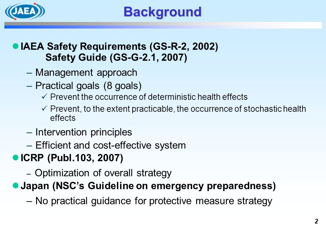 Background IAEA Safety Requirements (GS-R-2, 2002) Safety Guide (GS-G-2.1, 2007) Management approach.