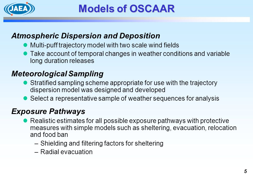 Models of OSCAAR Atmospheric Dispersion and Deposition