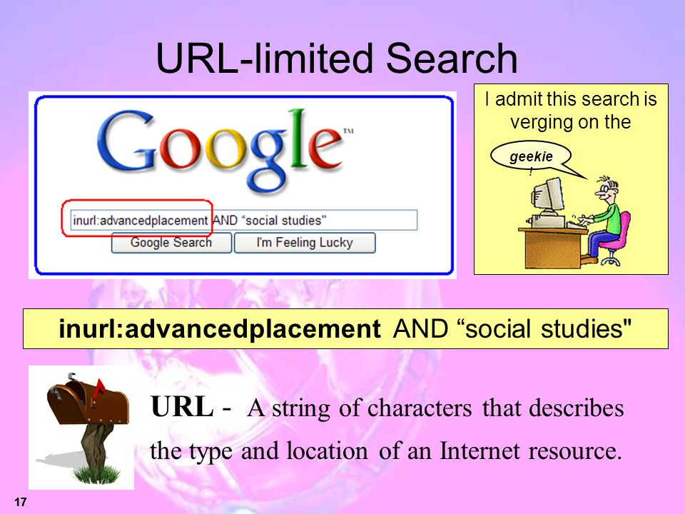 URL-limited Search I admit this search is verging on the. geekie! inurl:advancedplacement AND social studies