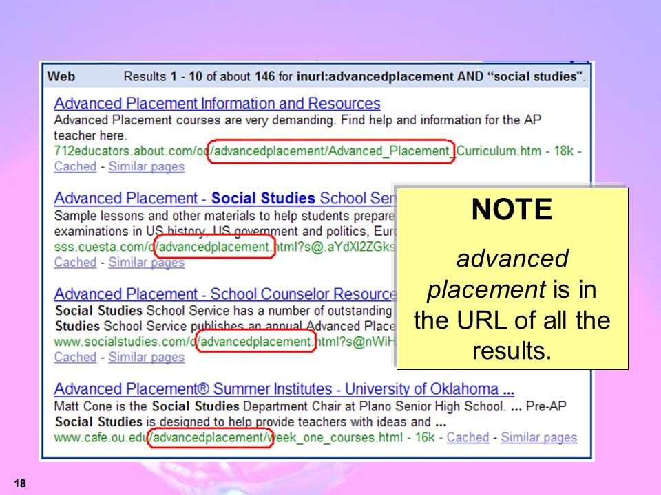 URL-limited Search Results
