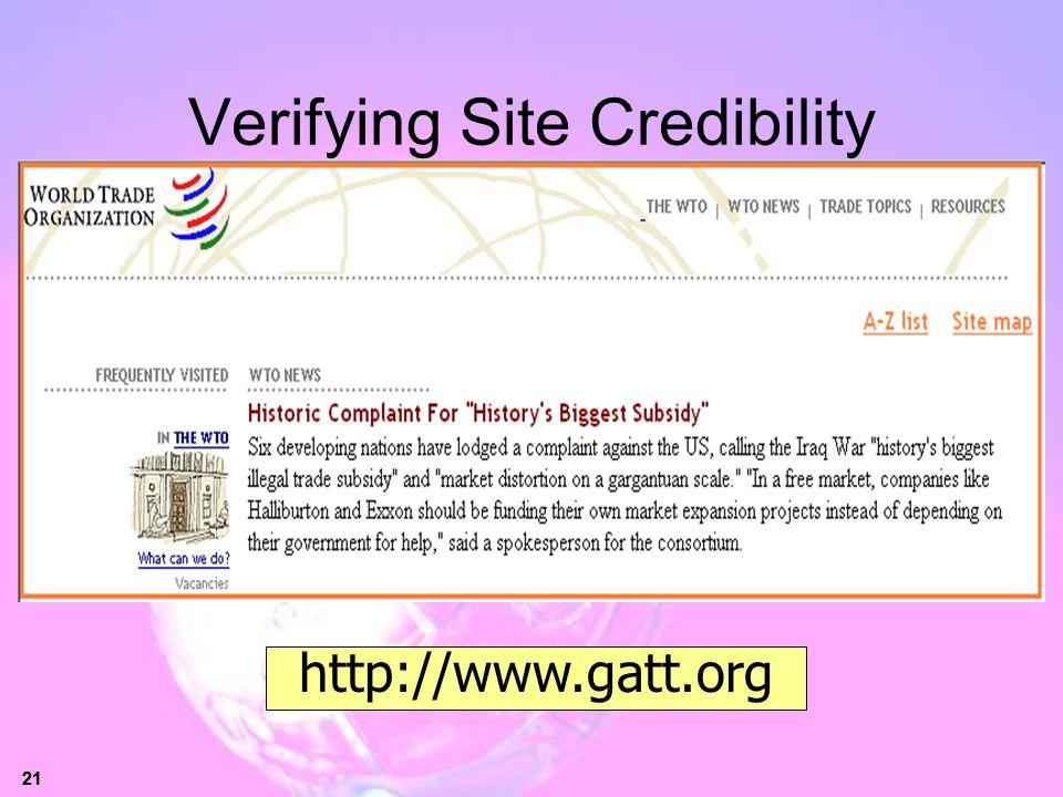 Verifying Site Credibility