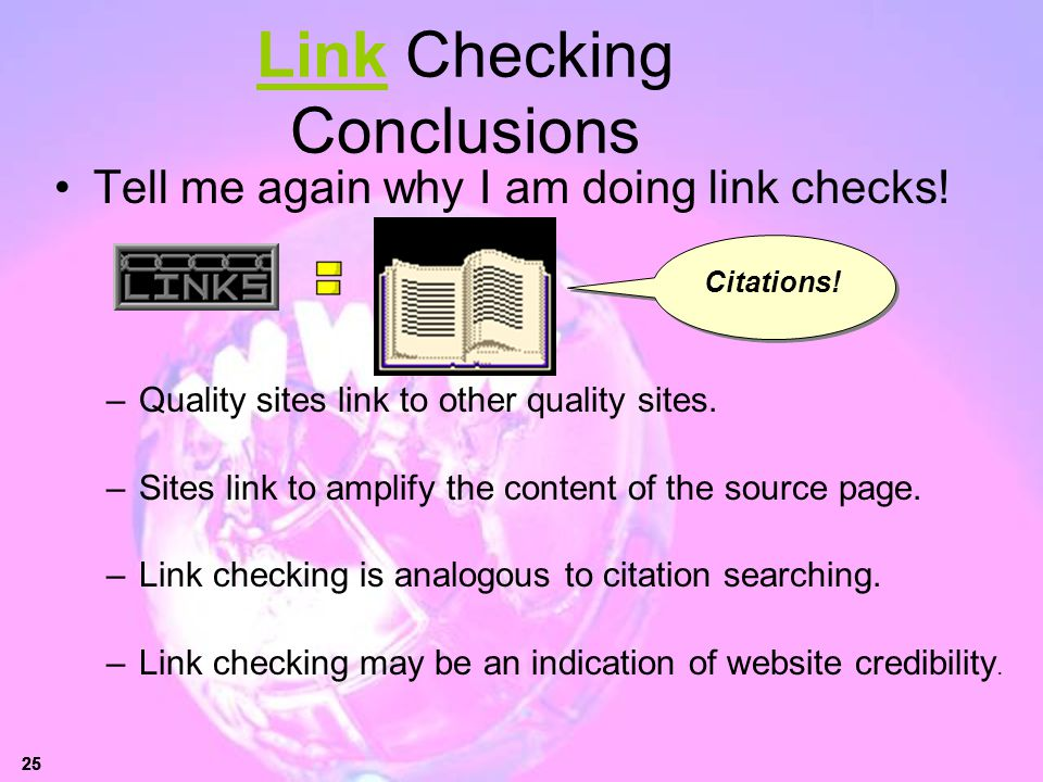 Link Checking Conclusions