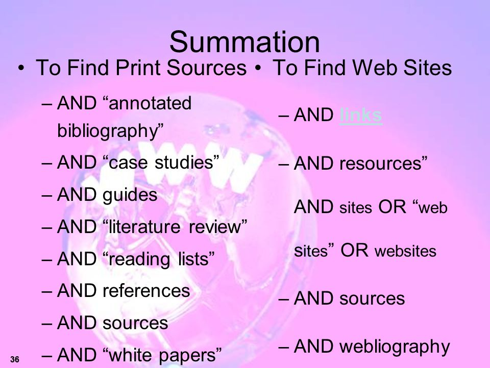 Summation To Find Print Sources To Find Web Sites