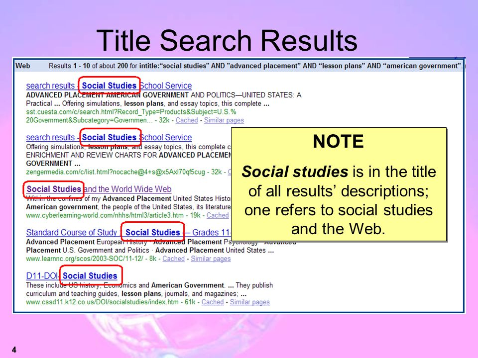 Title Search Results NOTE