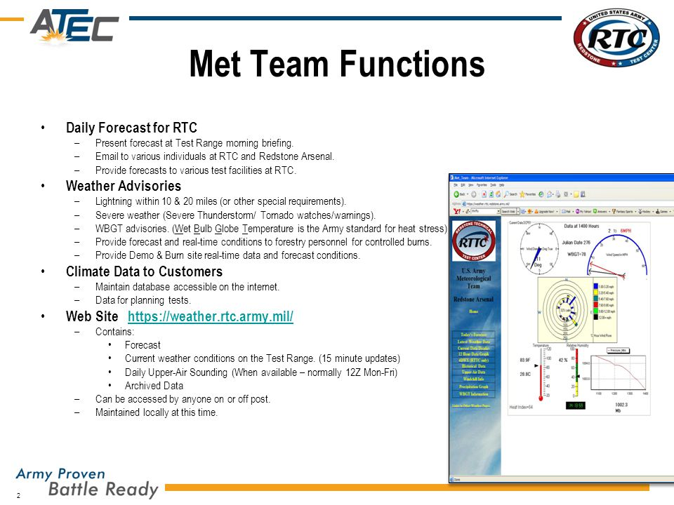 Met Team Functions Daily Forecast for RTC Weather Advisories