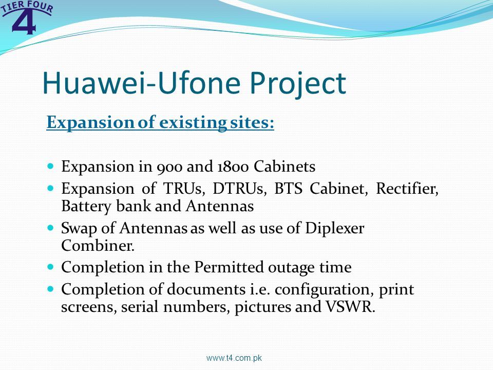 Huawei-Ufone Project Expansion of existing sites: