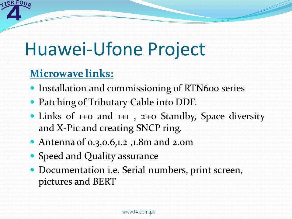 Huawei-Ufone Project Microwave links:
