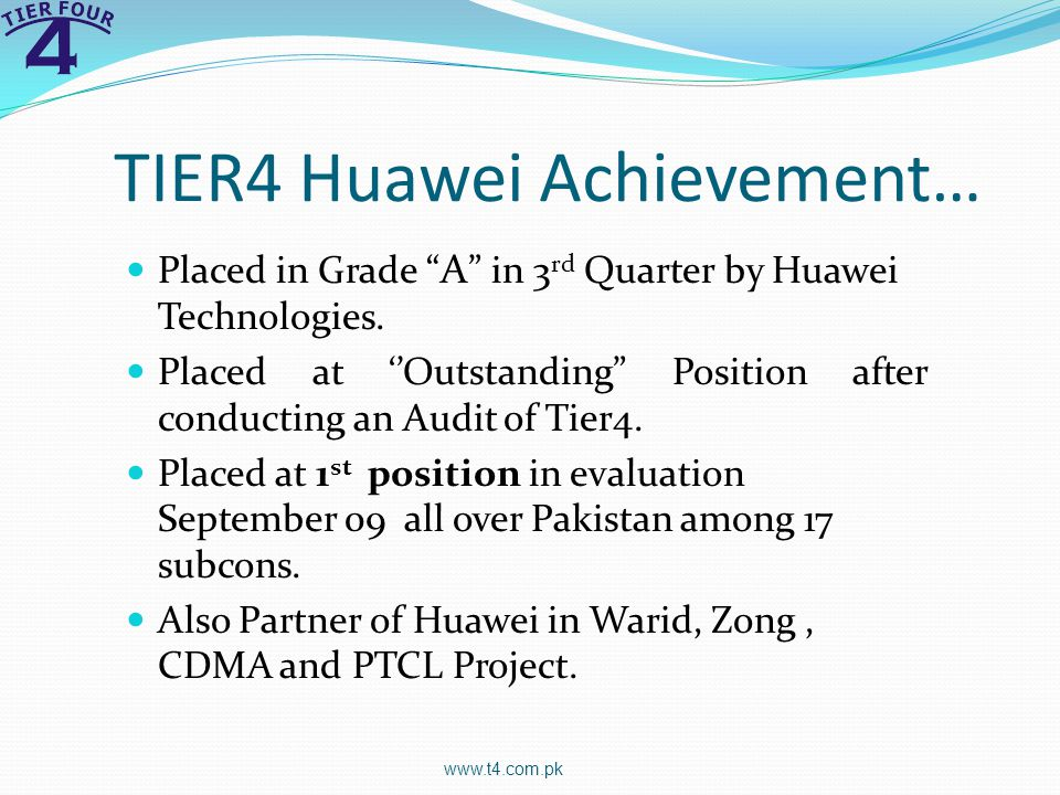 TIER4 Huawei Achievement…
