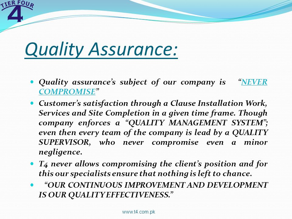 Quality Assurance: Quality assurance's subject of our company is NEVER COMPROMISE