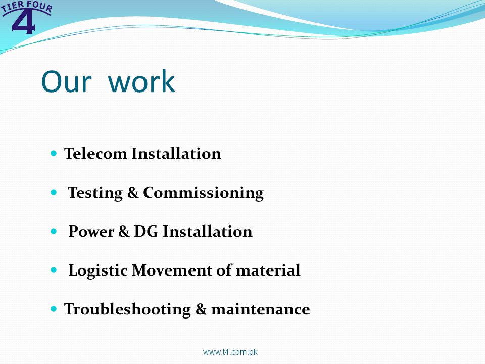 Our work Telecom Installation Testing & Commissioning