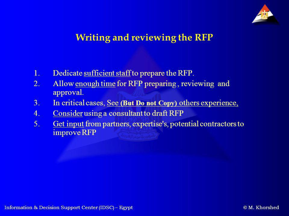 Writing and reviewing the RFP